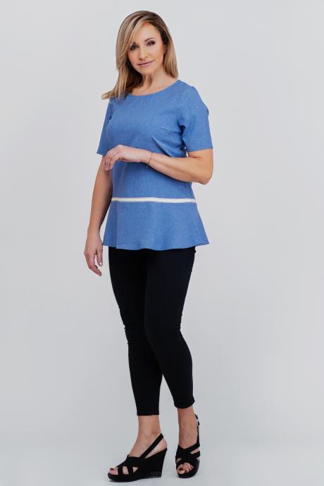 8078c4dd Niebieska rozkloszowana bluzka Adela