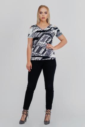 3a04cf594aff2a Biało - czarna bluzka z printem