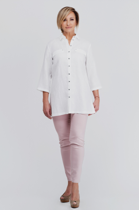 e4fe9cfce5 Biała lniana koszula z kieszeniami