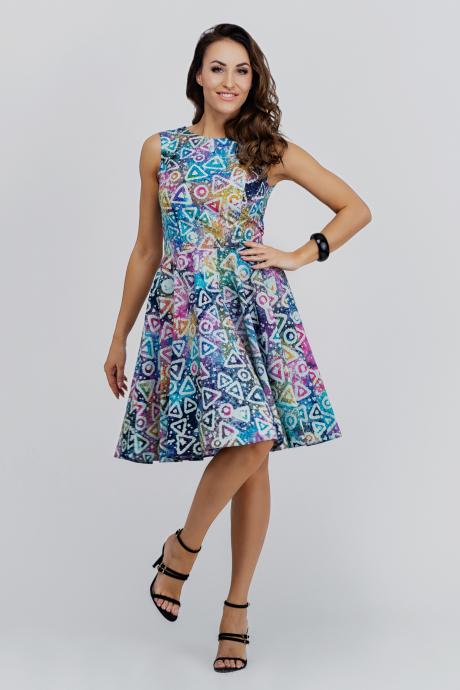428c6f89cb Błękitna sukienka w kolorowe wzory