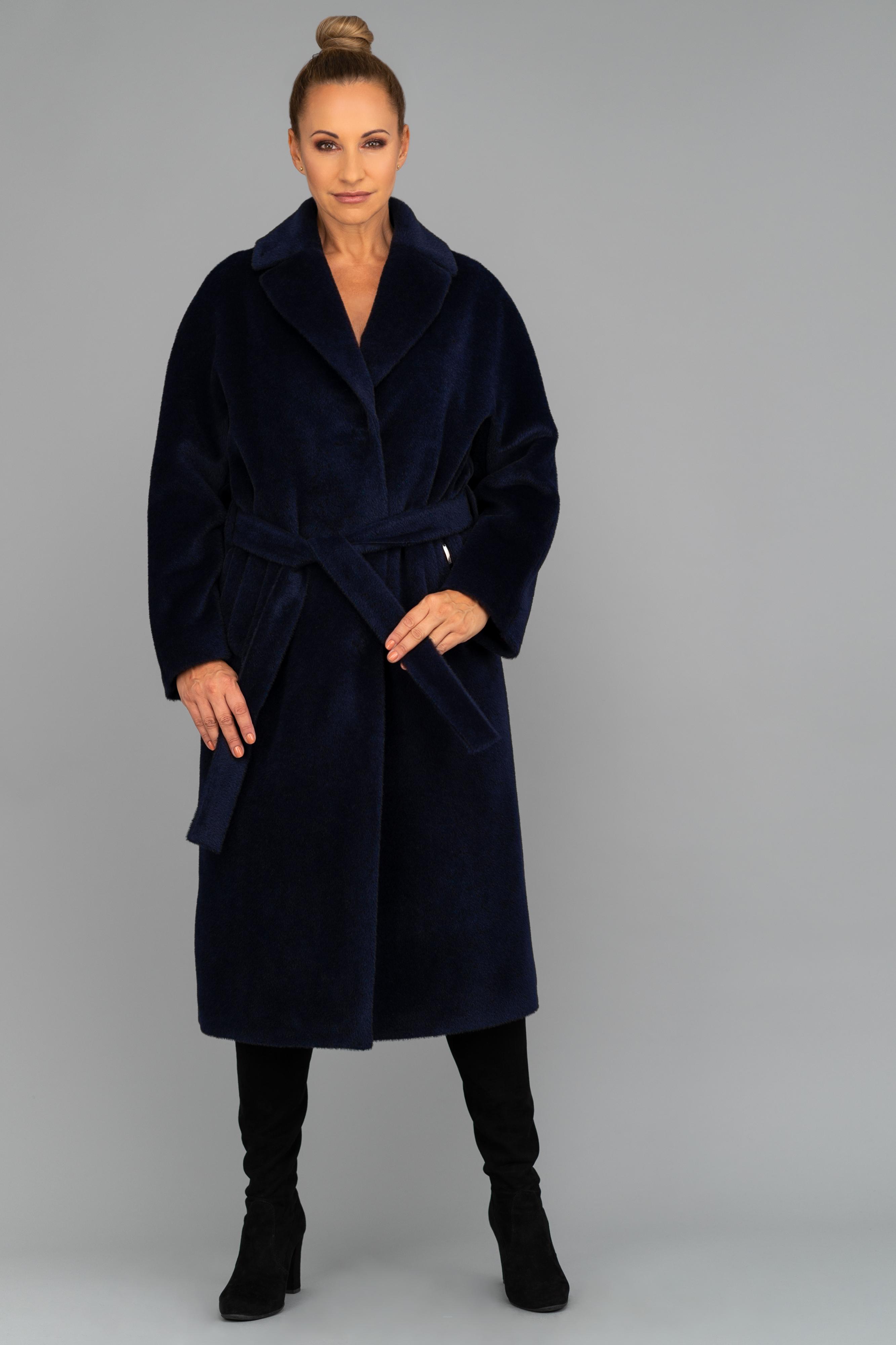 Granatowy ekskluzywny płaszcz z suri alpaki Dolores